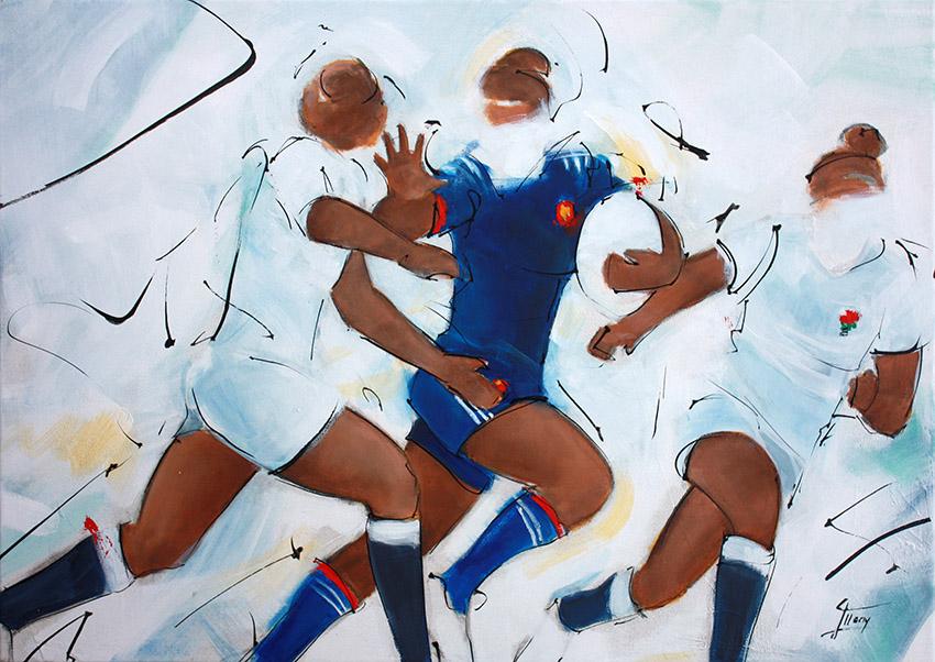 Art tableau sport collectif rugby : peinture sur toile d'une rencontre de rugby féminin entre le xv de France et l'Angleterre lors du tournoi des 6 nations