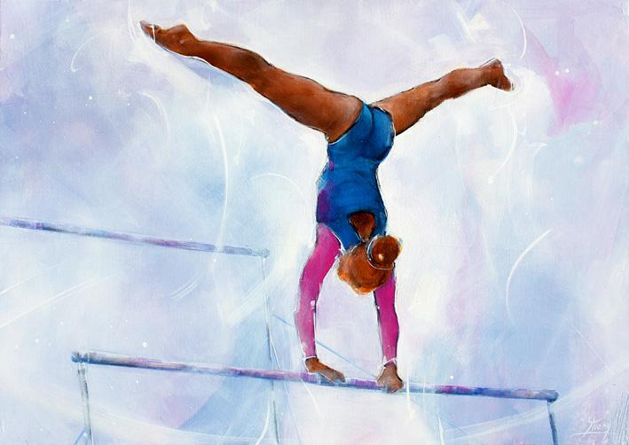 Art tableau sport gymnastique barres asymétriques : peinture sur toile d'une gymnaste