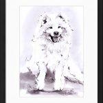 art_peinture_cadre_encre_animaux_chien_berger