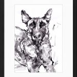 art_peinture_cadre_encre_animaux_chien_malinois