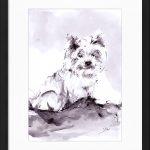 art_peinture_cadre_encre_animaux_chien_yorkshire