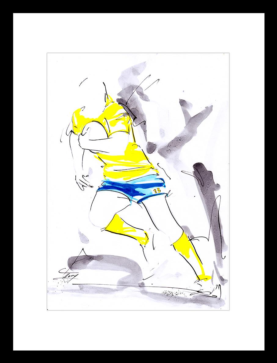 art tableau peinture à l'encre sport rugby asm aurélien rougerie arvernes de lutece
