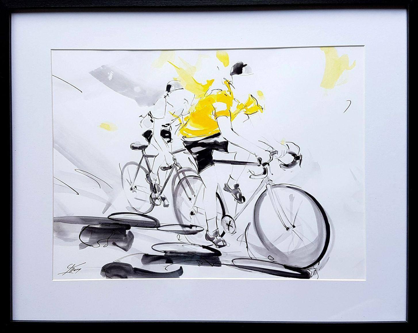 art tableau sport cyclisme : peinture à l'encre offerte à Bernard thévenet avec le maillot jaune, double vainqueur du tour de France par les organisateurs du Tour cycliste de l'API (agglomération pays d'Issoire)