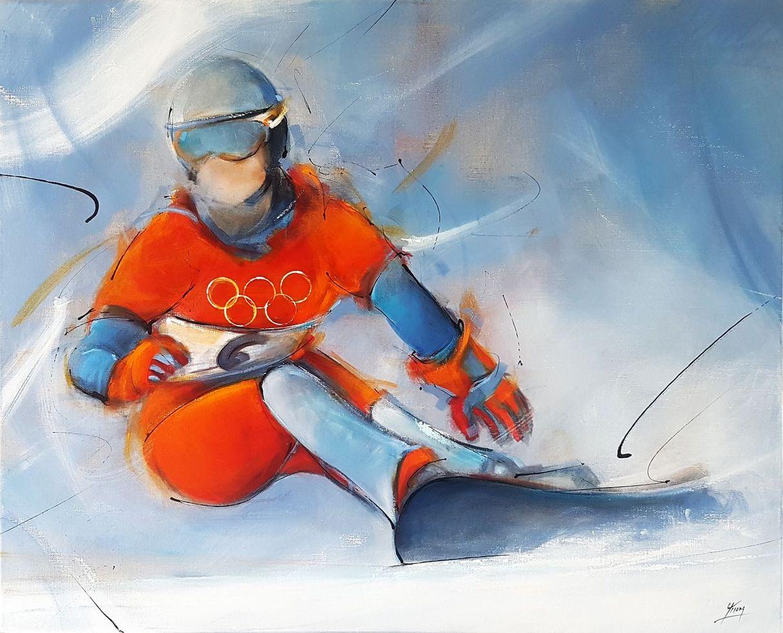 Art peinture sur toile tableau sport de glisse : La championne olympique Isabelle Blanc sur son snowboard lors des Jeux Olympiques (JO) de Salt Lake City en 2002 pour le gain de la médaille d'or face à Karine Ruby