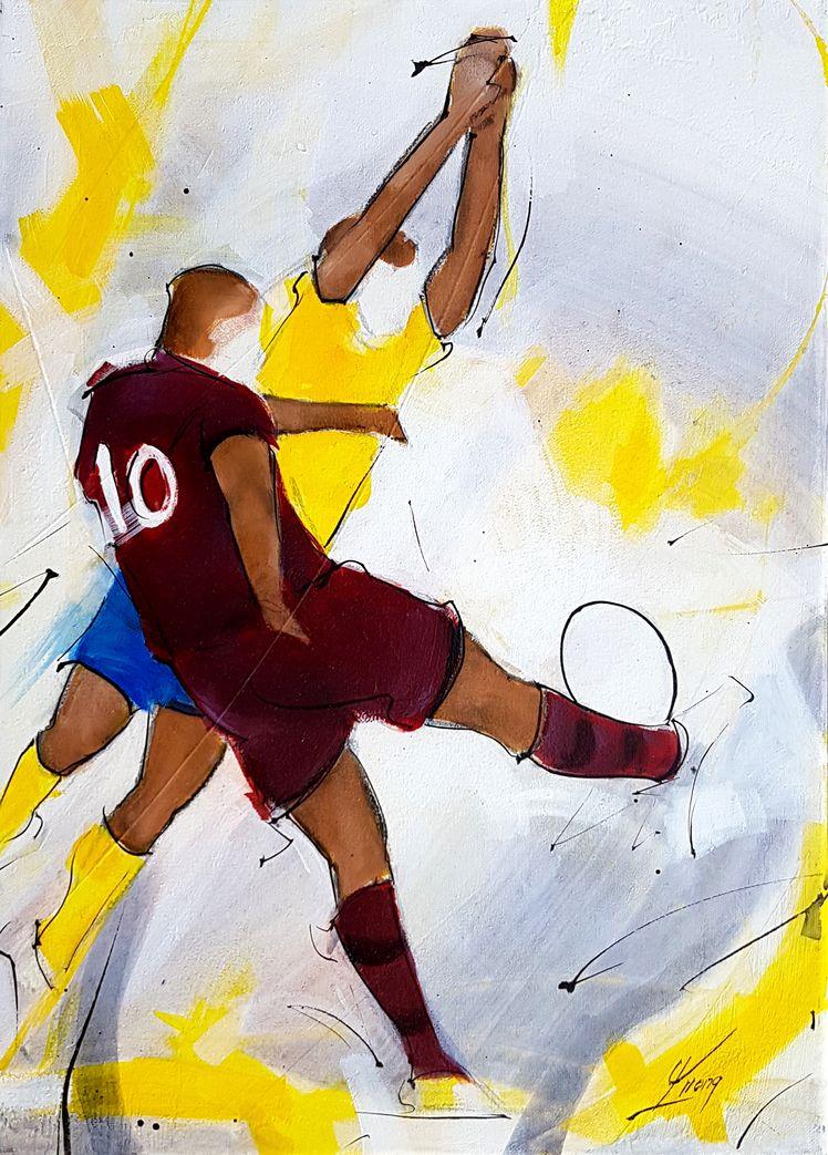 art tableau sport rugby : peinture sur toile d'un match de rugby entre l'ASM et l'UBB