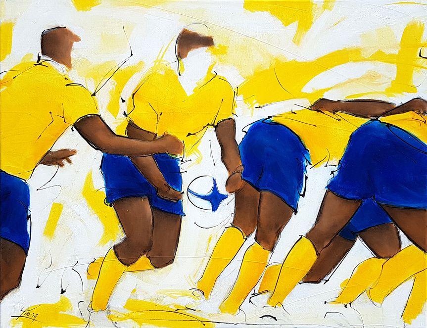 art tableau sport collectif rugby : peinture sur toile d'un match de rugby représentant le départ au raz du n°8 de l'ASM Clermont Auvergne au Stade Marcel Michelin
