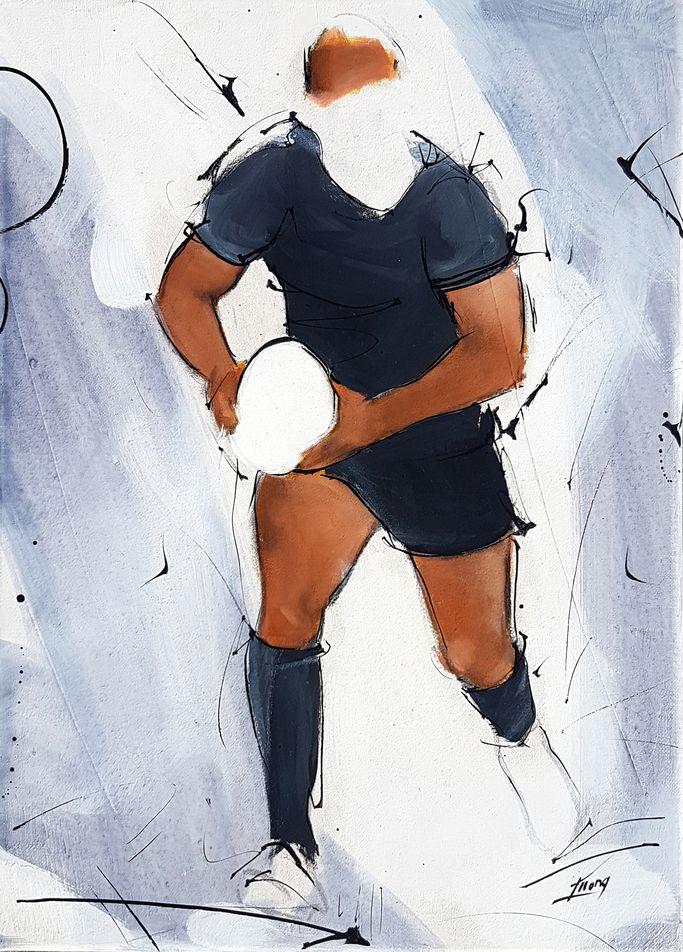 art tableau sport collectif rugby : peinture sur toile d'un rugbyman all blacks
