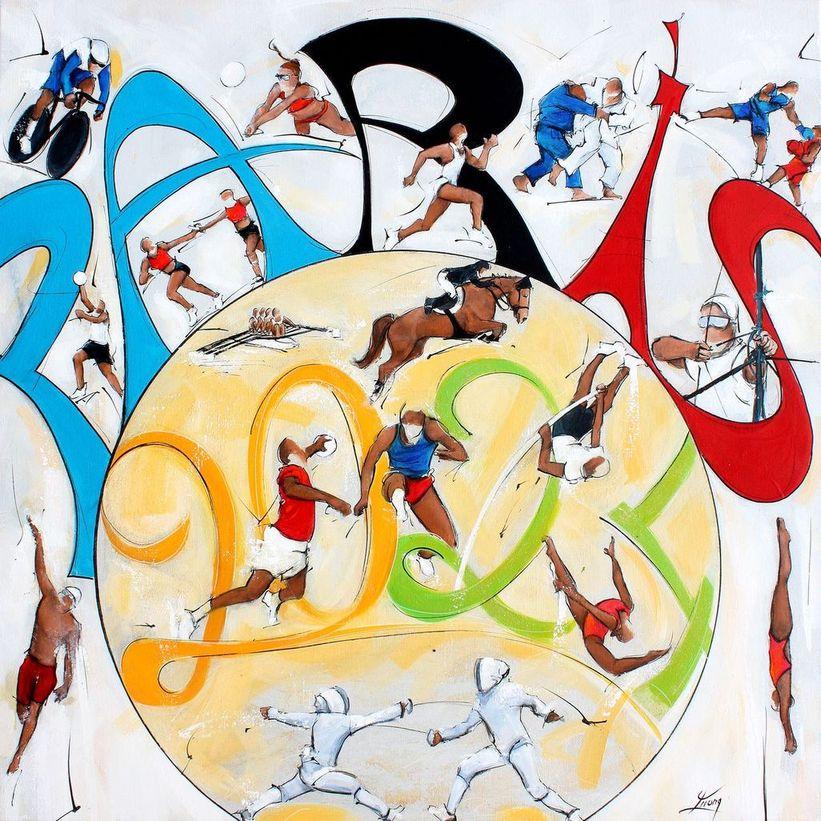 art tableau sport jeux olympiques jo Paris 2024 : peinture sur toile de 17 sports comme le beach volley, plongeon, natation, escrime, vélo, boxe, judo, athlétisme, tir à l'arc, équitation, saut de haies, gymnastique, saut à la perche, basket ball, handball, aviron et relais