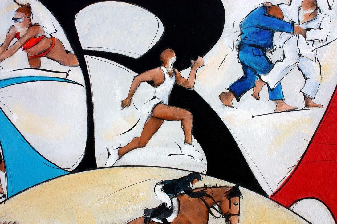 art tableau sport jeux olympiques JO Paris 2024 : détail d'une peinture sur toile sur l'athlétisme (sprint 100 m)