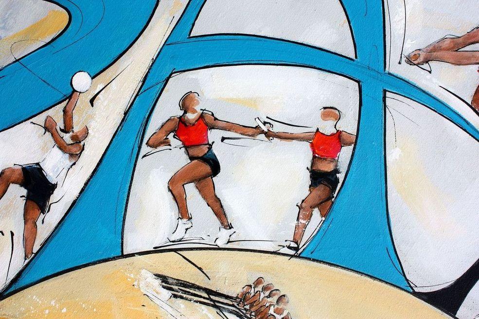 art tableau sport jeux olympiques JO Paris 2024 : détail d'une peinture sur toile sur l'athlétisme (course de relais)
