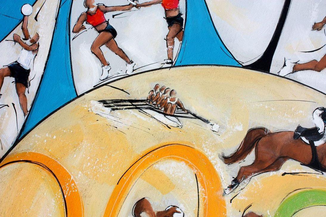 art tableau sport jeux olympiques JO ¨Paris 2024 : détail d'une peinture sur toile sur l'aviron