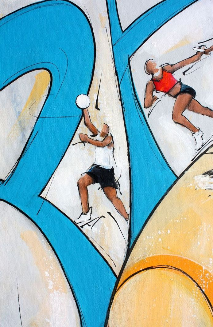 art tableau sport jeux olympiques JO Paris 2024 : détail d'une peinture sur toile sur le basket ball