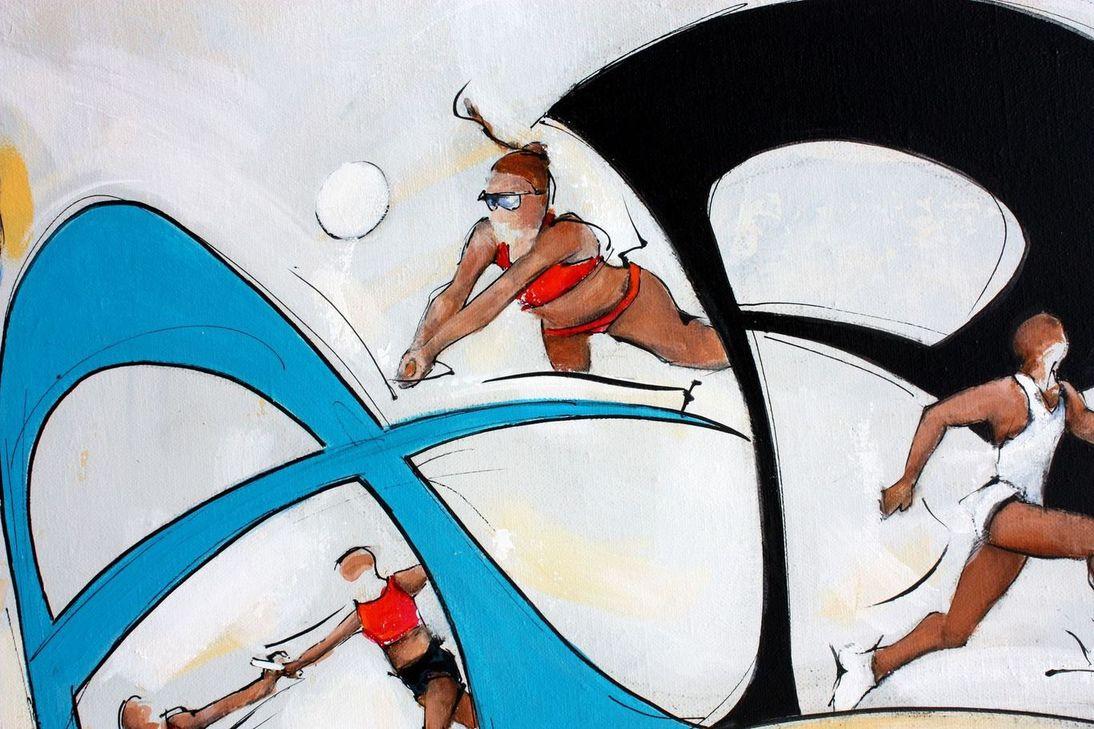 art tableau sport jeux olympiques JO Paris 2024 : détail d'une peinture sur toile sur le beach volley