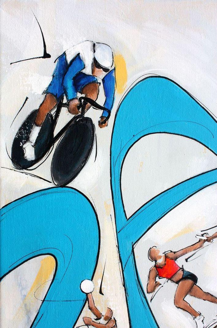 art tableau sport jeux olympiques JO Paris 2024 : détail d'une peinture sur toile sur la cycle (vélo sur piste)