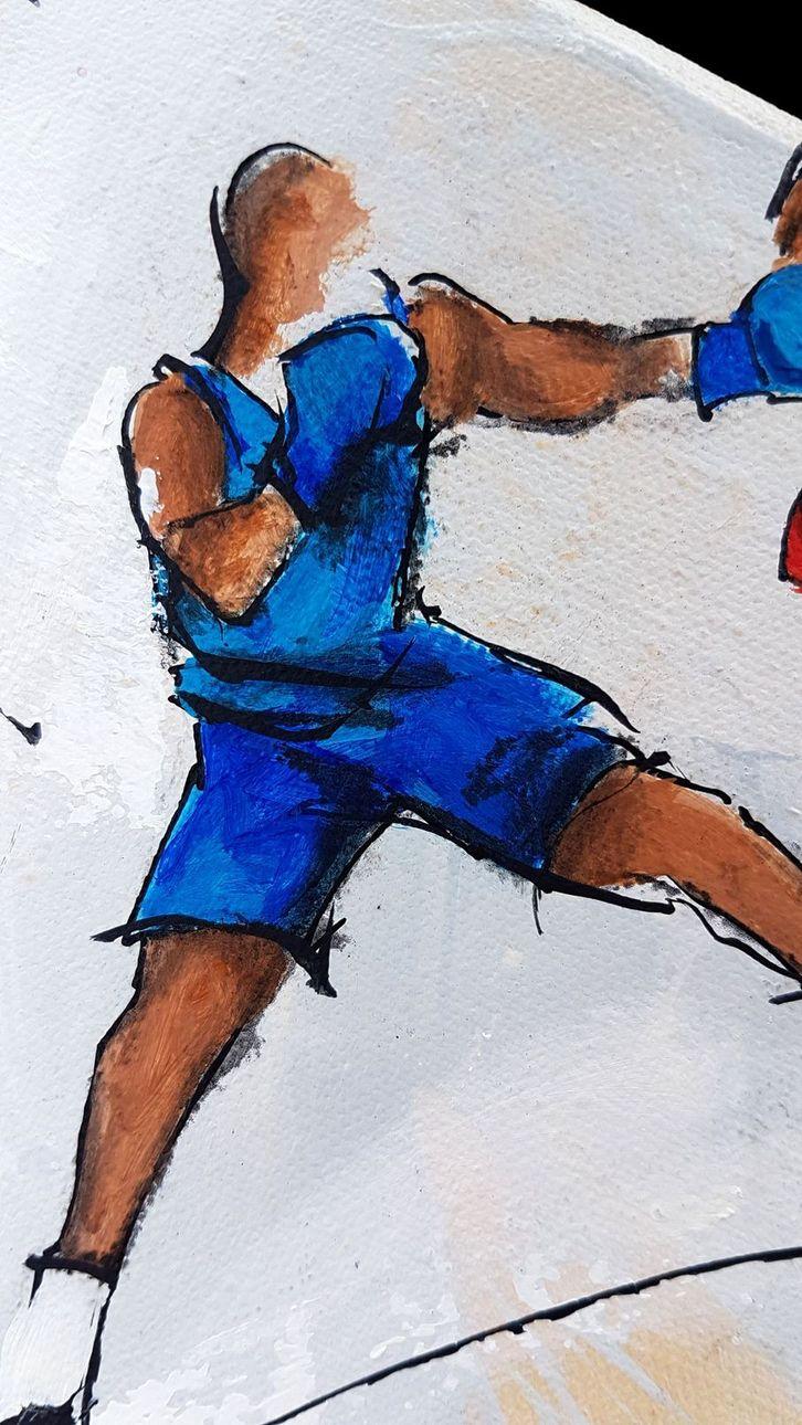 art tableau sport jeux olympiques JO Paris 2024 : détail d'une peinture sur toile sur la boxe