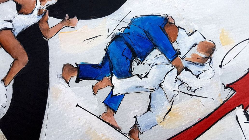 art tableau sport jeux olympiques JO Paris 2024 : détail d'une peinture sur toile sur le judo