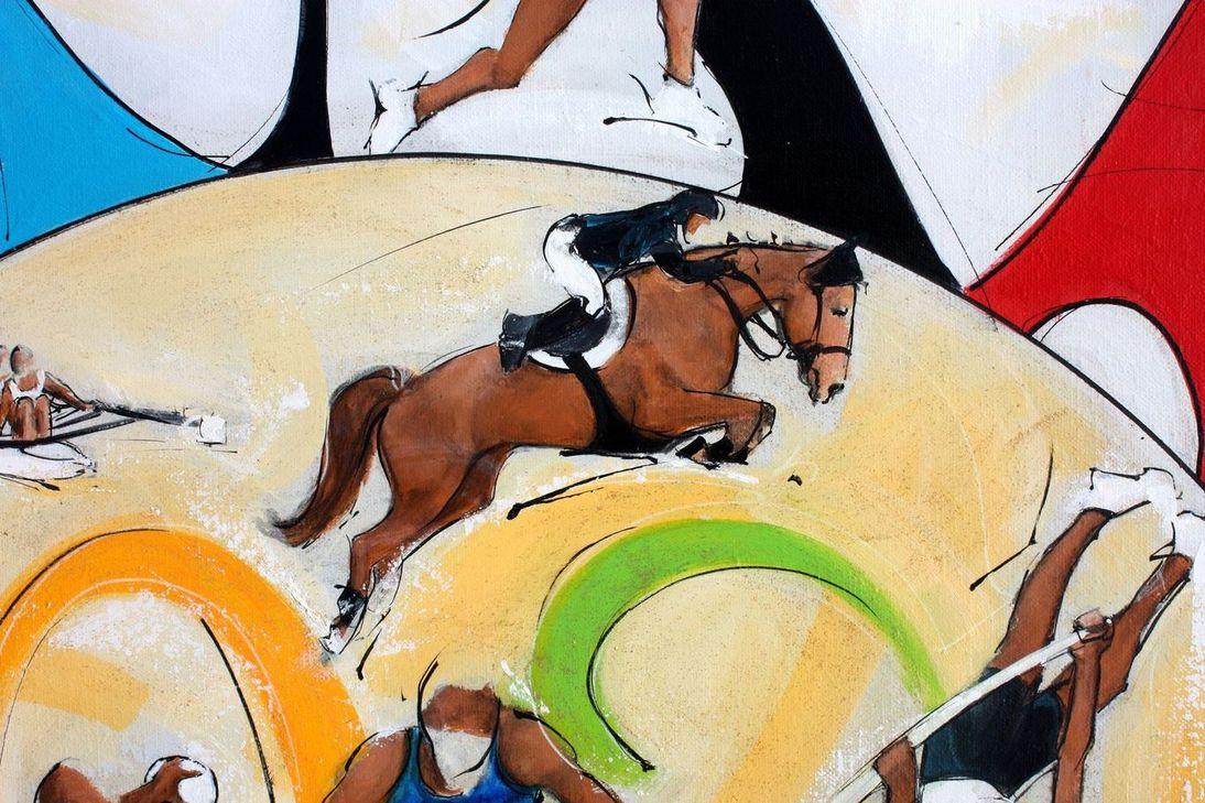 art tableau sport jeux olympiques JO Paris 2024 : détail d'une peinture sur toile sur l'équitation