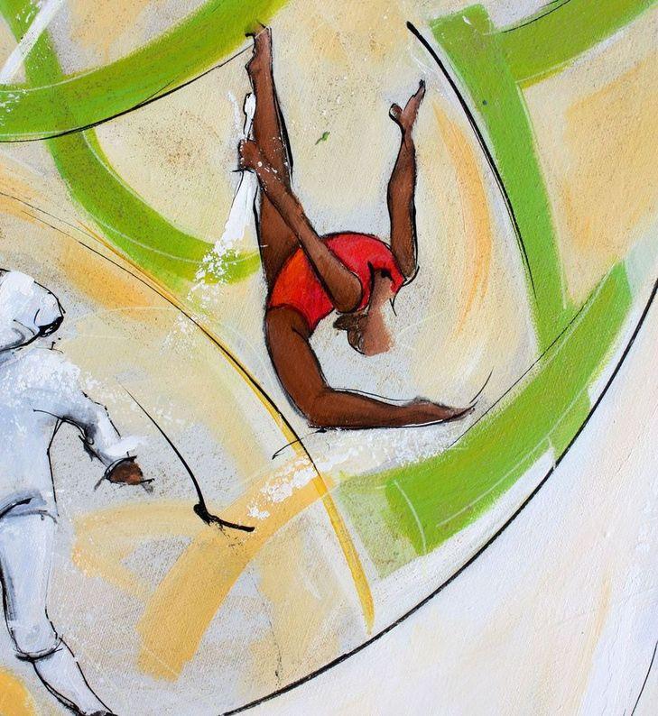 art tableau sport jeux olympiques JO Paris 2024 : détail d'une peinture sur toile sur le gymnastique