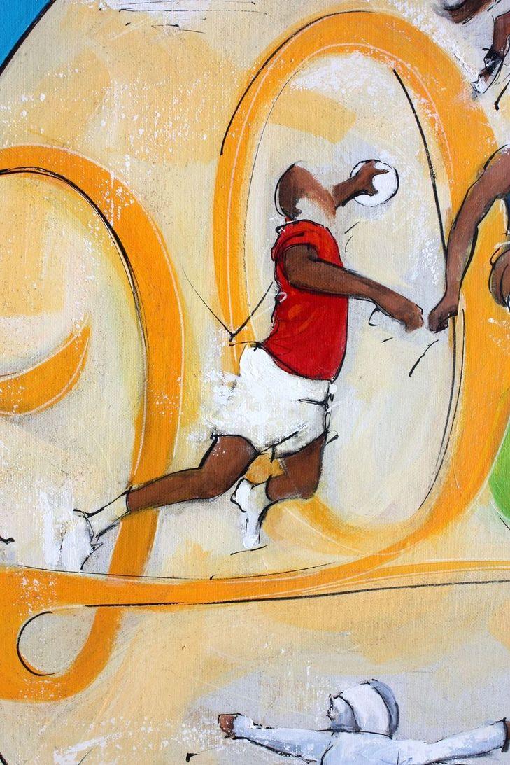 art tableau sport jeux olympiques JO Paris 2024 : détail d'une peinture sur toile sur le handball
