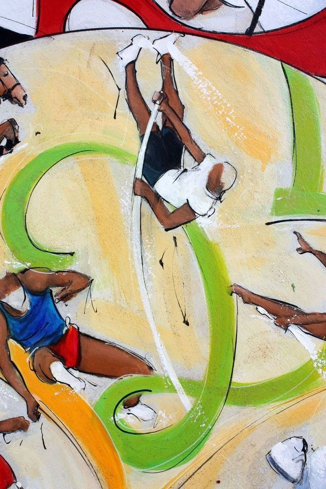 art tableau sport jeux olympiques JO Paris 2024 : détail d'une peinture sur toile sur l'athlétisme (saut à la perche)
