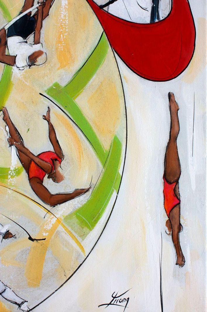 art tableau sport jeux olympiques JO Paris 2024 : détail d'une peinture sur toile sur le plongeon