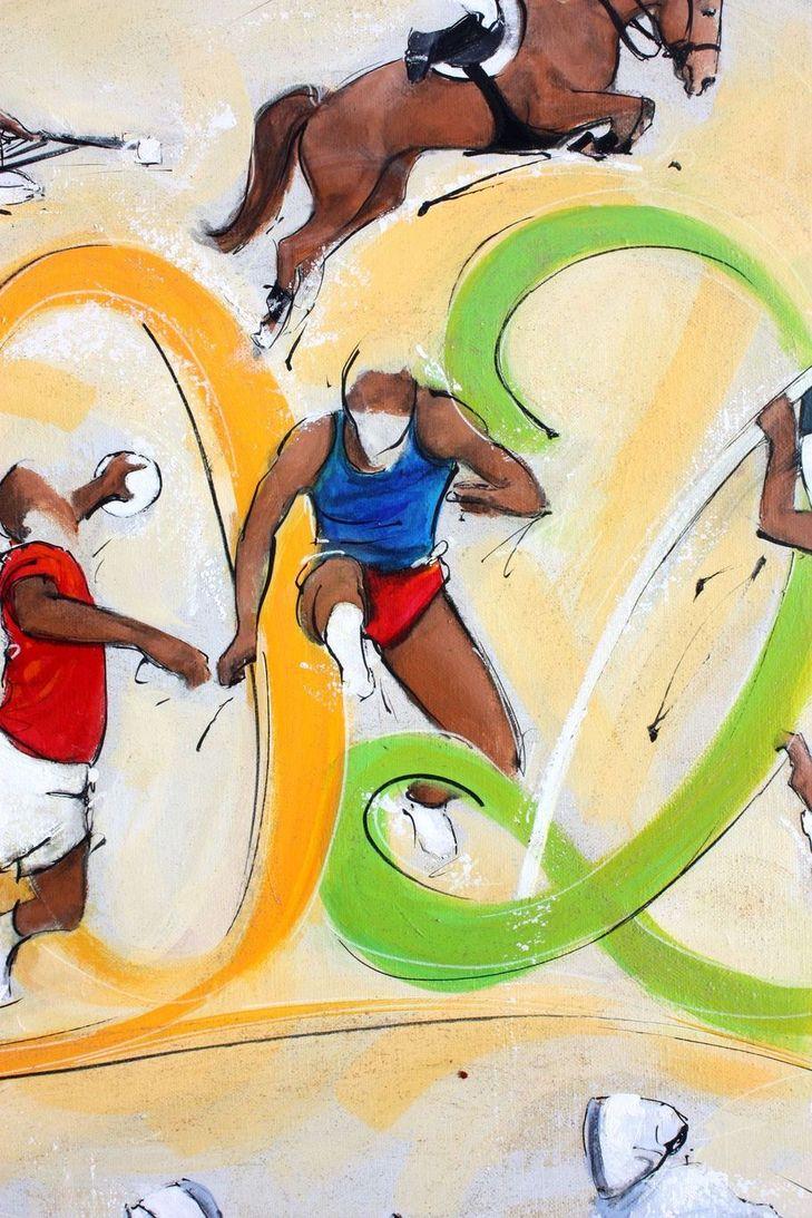 art tableau sport jeux olympiques JO Paris 2024 : détail d'une peinture sur toile sur l'athlétisme (saut de haies)