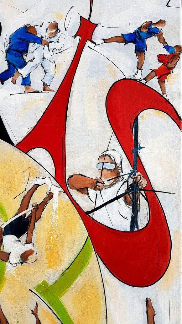 art tableau sport jeux olympiques JO Paris 2024 : détail d'une peinture sur toile sur le tir à l'arc
