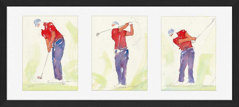 art peinture aquarelle cadre golf