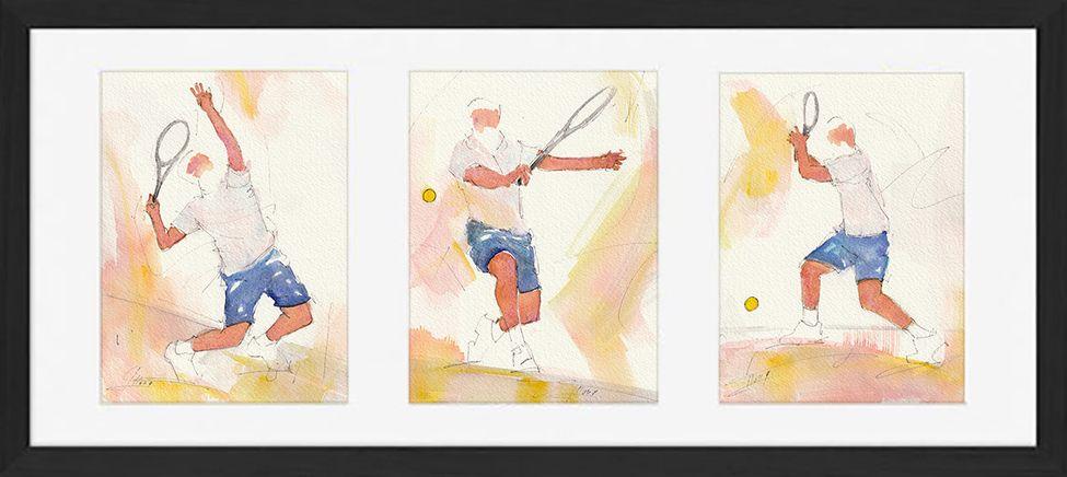 Sport tennis art peinture aquarelle encadrée : joueur de tennis - tennisman - au service, en revers et en coup droit sur le court