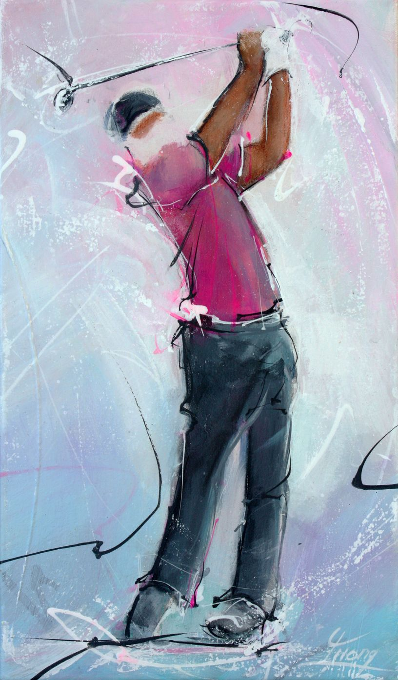 Art painting sport Golf : golf player for a perfect drive