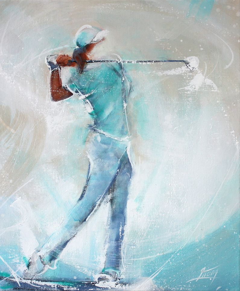 Art painting sport Golf : female golf player on fairway
