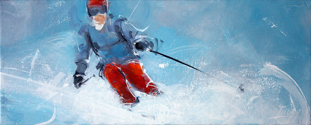 art peinture sport ski : freeride dans la neige fraîche