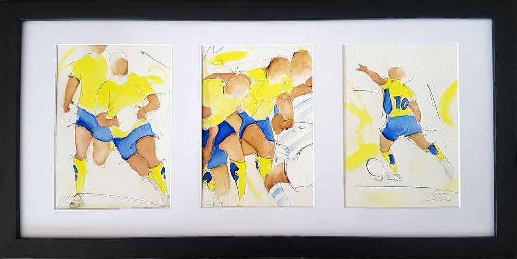 art peinture aquarelle sport rugby : Jour de match entre l'ASM Clermont Auvergne et le Racing