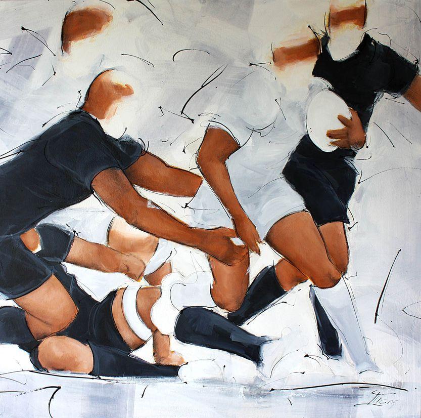 art peinture sport rugby : départ sur le petit côté du demi de mêlée face aux all blacks