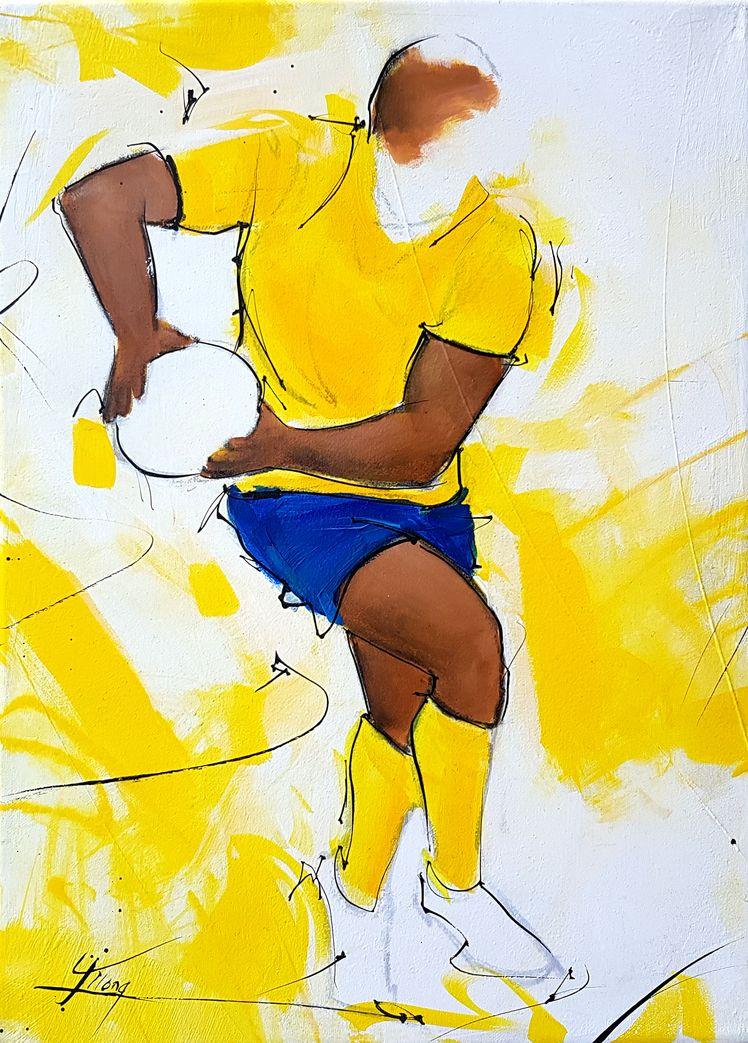 Art tableau sport rugby : peinture sur toile d'un joueur de rugby de l'ASM jouant rapidement le ballon