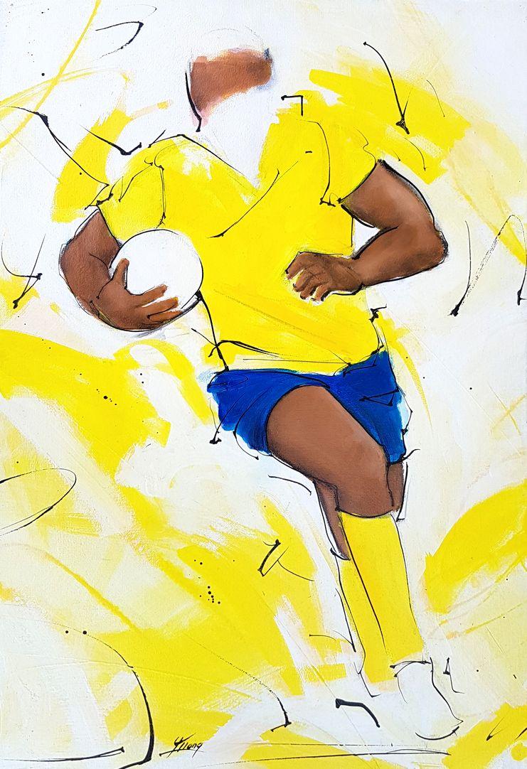 art tableau sport rugby ASM : Un joueur de l'ASM remonte le ballon lors d'un match au stade Marcel Michelin