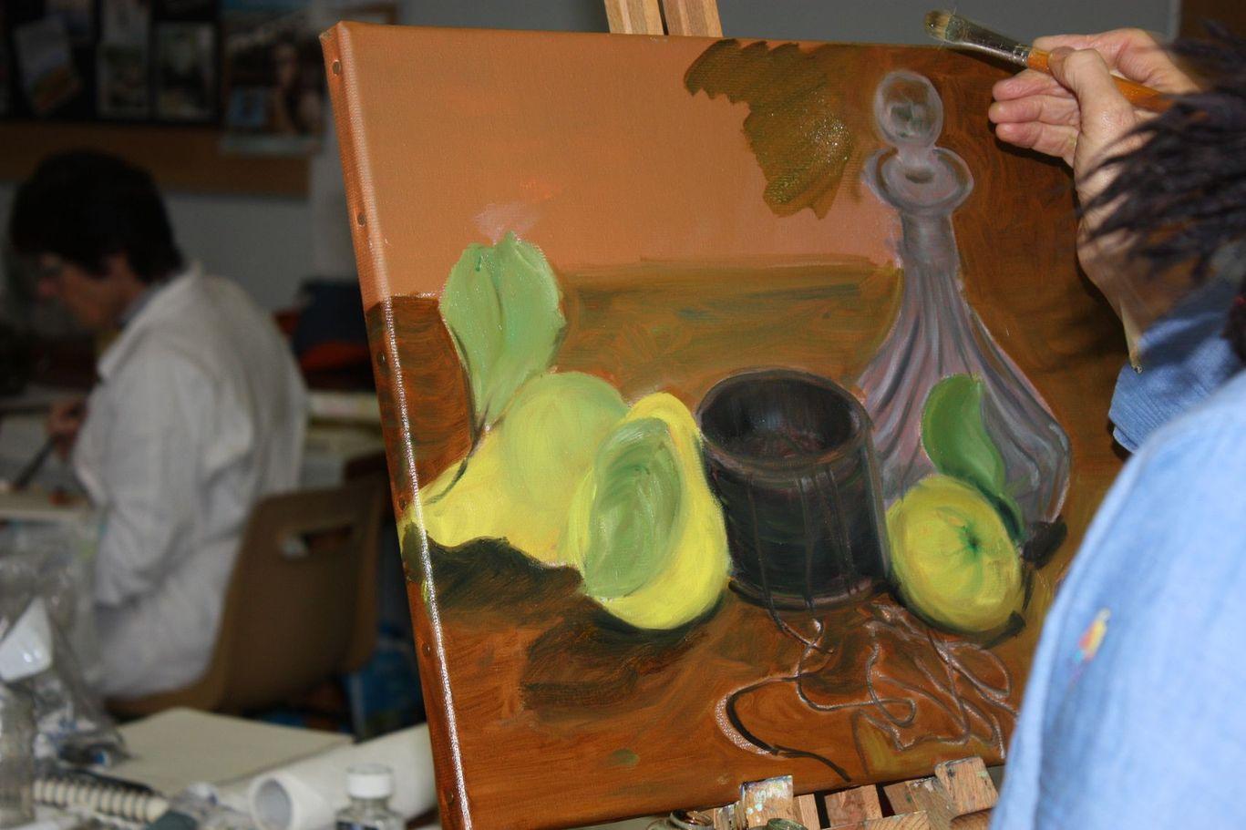 stage de peinture à l'huile - la nature morte - Champeix - Puy-de-Dôme - Auvergne - animé par Lucie LLONG