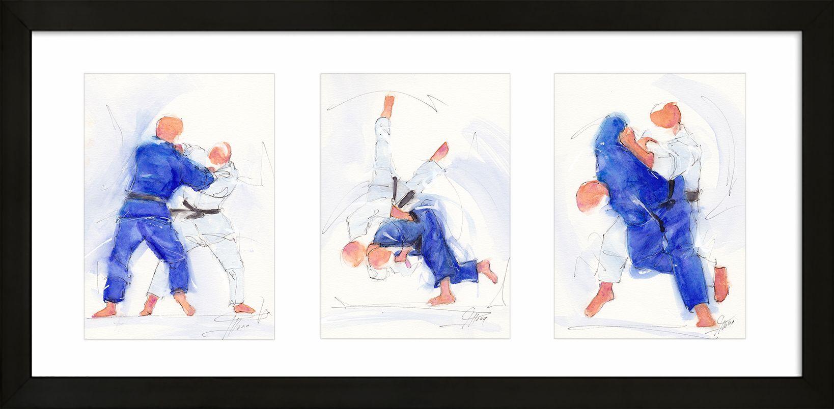 art peinture aquarelle sport de combat judo : triptyque d'un combat entre 2 judokas
