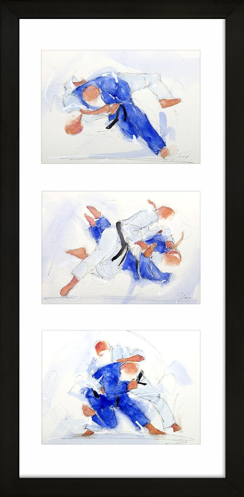 art peinture aquarelle sport de combat judo : triptyque d'un combat entre 2 judokas ceinture noire