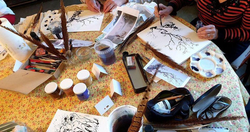 Stage de peinture encre aquarelle par Lucie LLONG, artiste peintre -Puy-de-Dôme