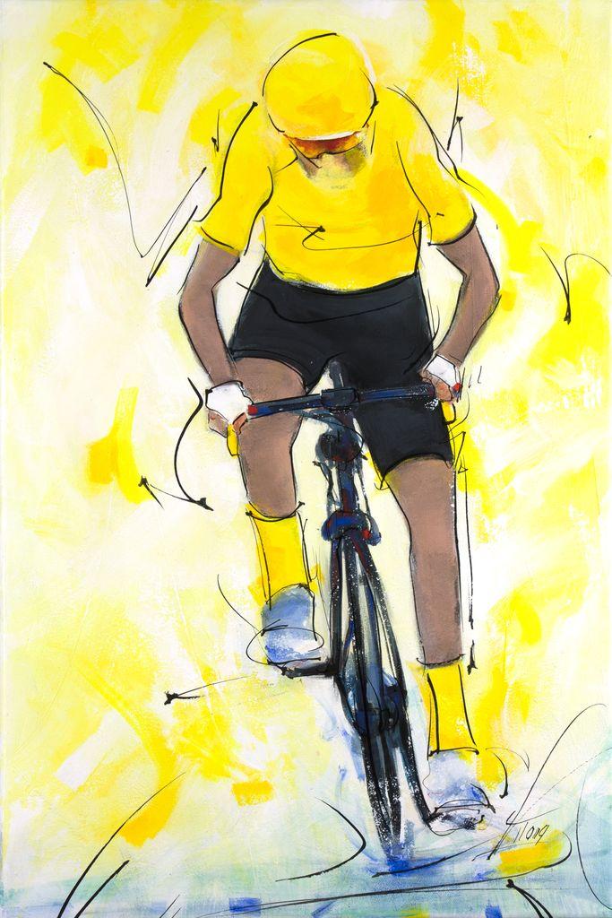 Tour de France : Échappée du maillot jaune en peinture