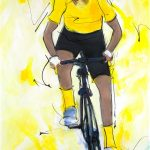 art_peinture_sport_cyclisme_tour_de_france_maillot_jaune_Lucie LLONG-SI