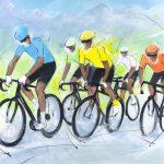 art_peinture_sport_cyclisme_tour_de_france_maillot_jaune_etape de montagne_Lucie LLONG-SI