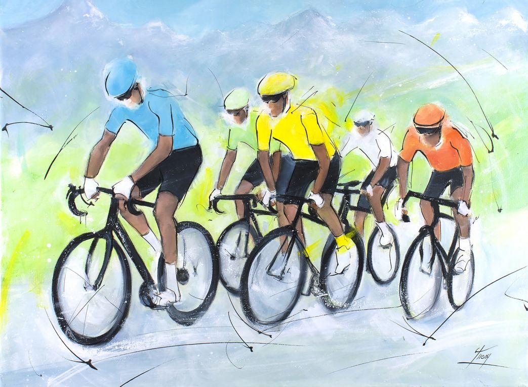 art peinture sport cyclisme tour de france : Echappée du groupe maillot jaune dans les Alpes - Tour de France de cyclisme