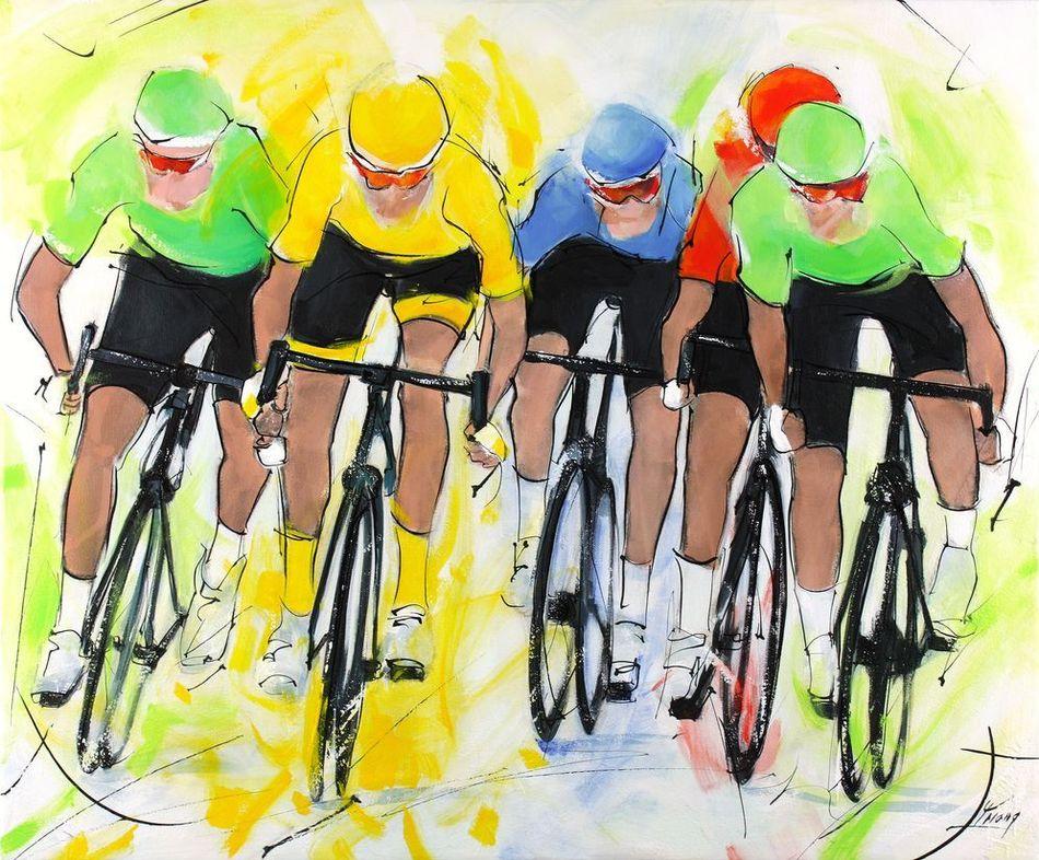 Tour de France : peinture sur toile de coureurs lors du sprint final d'une étape du tour de France avec le maillot jaune luttant pour la victoire