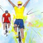 art_peinture_sport_cyclisme_tour_de_france_maillot_jaune_victoire d'étape_ Lucie LLONG-SI