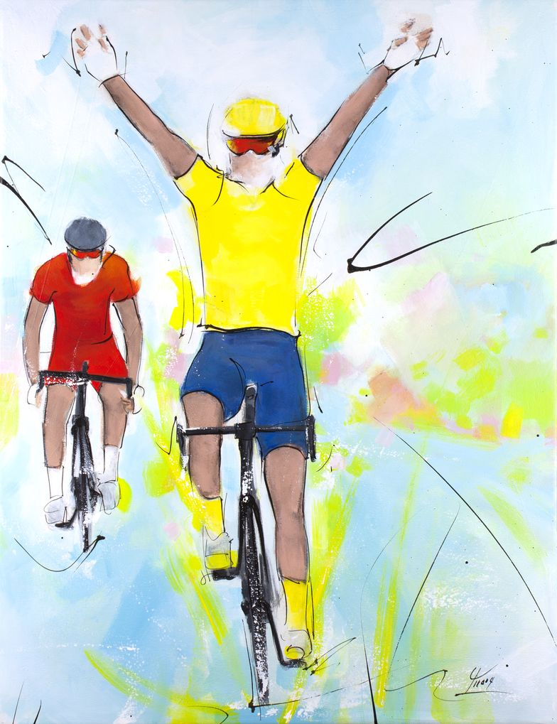 art painting sport cycling Tour de France : Stage victory for yellow jersey