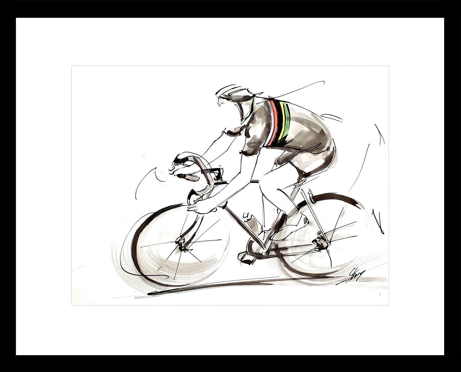 art peinture sport cyclisme : peinture à l'encre de Joop Zoetemelk, champion de monde de cyclisme, vainqueur du tour de France et champion Olympique