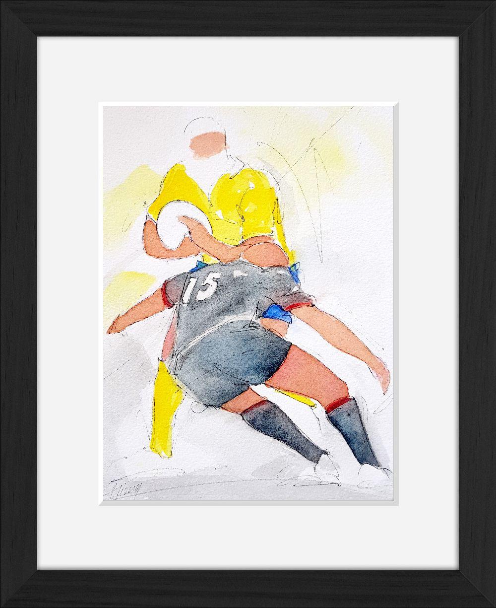 Rugby : Tableau aquarelle de sport collectif - Match de TOP14 de rugby entre l'ASM Clermont Auvergne et le Stade Toulousain - Finale du TOP 14 2019