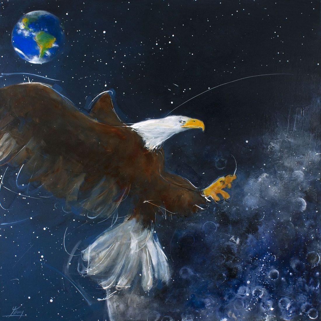 peinture pop art animalier : Eagle on the moon (l'aigle sur la Lune)-l'histoire de la conquête spatiale à l'occasion du 50ème anniversaire du premier homme sur la Lune